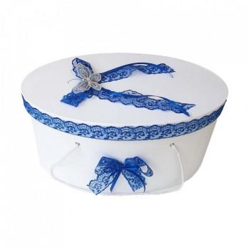 Cutie trusou botez dantela albastra si fluturas