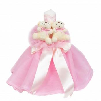 Lumanare botez cu tul, decor roz si ursuleti