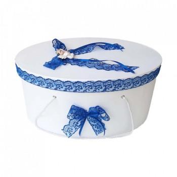 Cutie trusou botez dantela albastra si ingeras