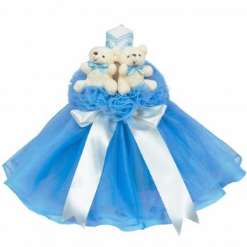 Lumanare botez cu tul, decor bleu si ursuleti