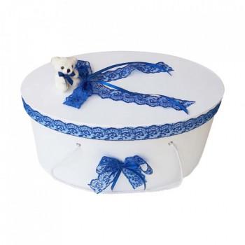 Cutie trusou botez dantela albastra si ursulet