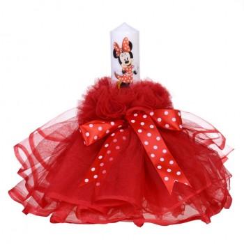 Lumanare botez fetita, rochita rosie si fundita cu buline