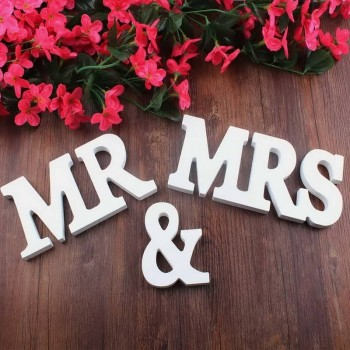 Litere lemn set Mr and Mrs 12 cm