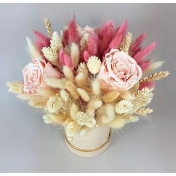 Aranjament Trandafiri Criogenati Roz Pudra si Flori Uscate