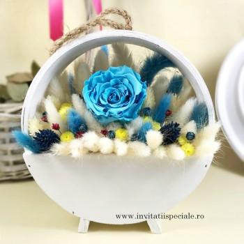 Cos Flori Uscate si Trandafir Criogenat Albastru