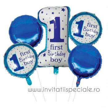 Buchet Baloane First Birthday - Baietel