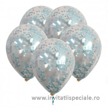 Baloane Transparente Confetti Bleu - set 5 buc - 23 cm