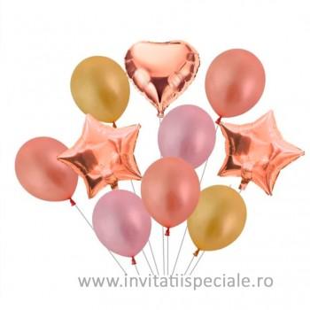 Buchet Baloane Inima - Stea Rose Gold (Set 10 buc)