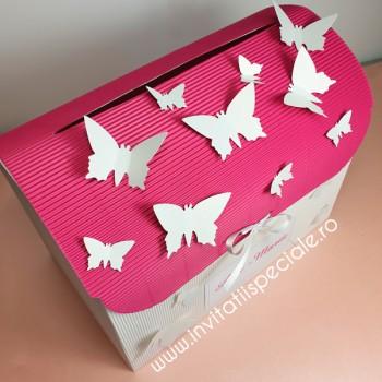 Casuta de Bani Cufar Fluturasi - Pink