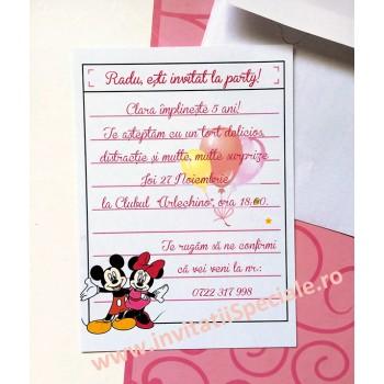 Invitatie Aniversare - Notita Minnie and Mickey