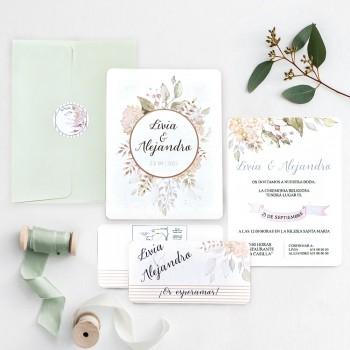 Invitatie Floral Wedding - Green