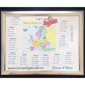 Plansa Asezare Invitati - Harta Europei