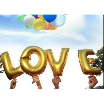 Balon Litere Aurii Mici LOVE - 18 cm